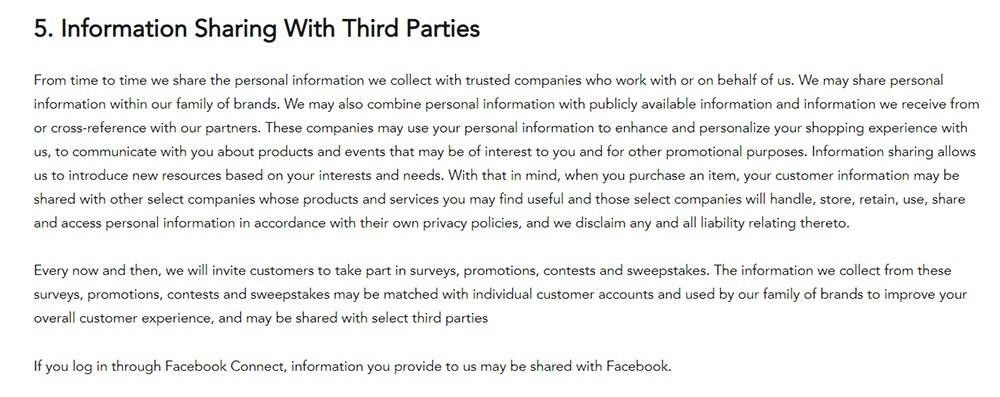 Shutterfly Privacy Policy: Information Sharing With Third Parties clause