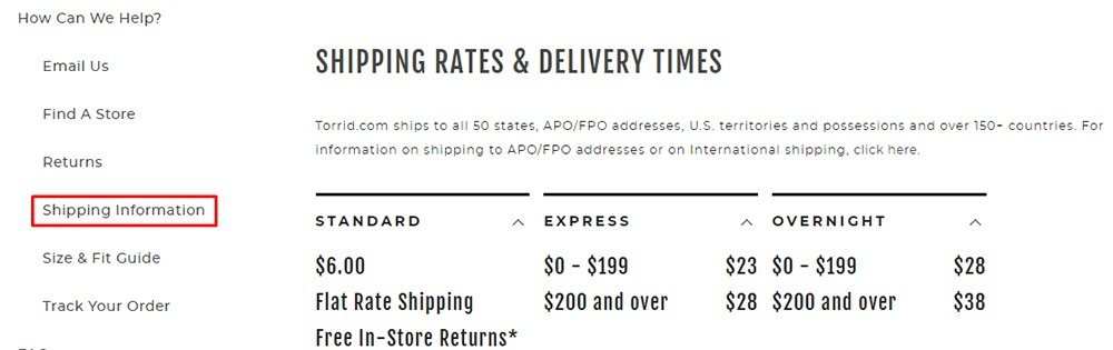 Torrid shipping information page with link highlighted