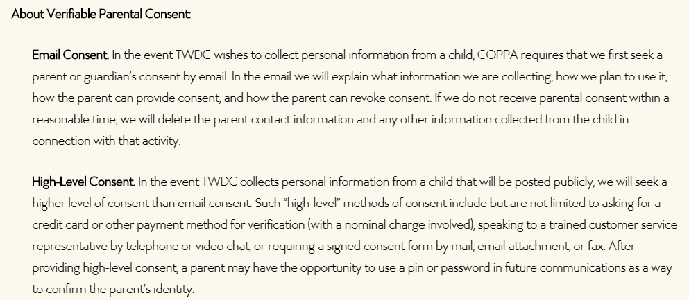 Walt Disney Company Children's Privacy Policy: Verifiable Parental Consent clause excerpt