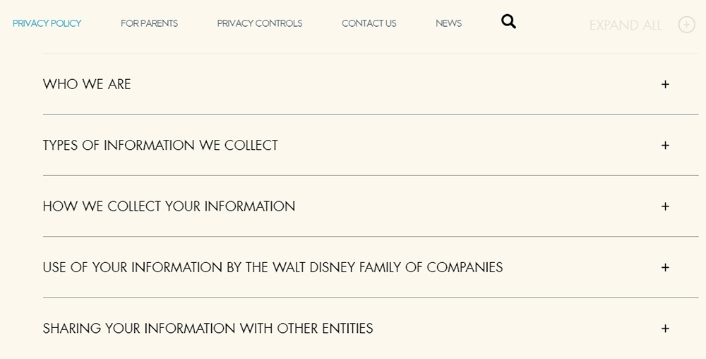 Walt Disney Company Privacy Policy: Excerpt of menu