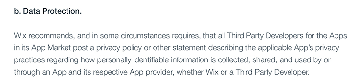 Wix App Market Terms of Use: Excerpt of Data Protection clause