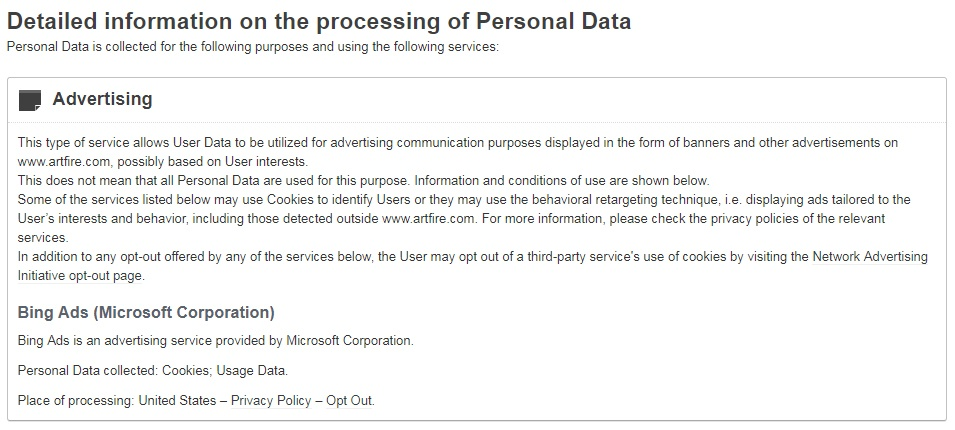 Art Fire Privacy Policy: Advertising clause