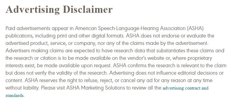 ASHA Advertising Disclaimer
