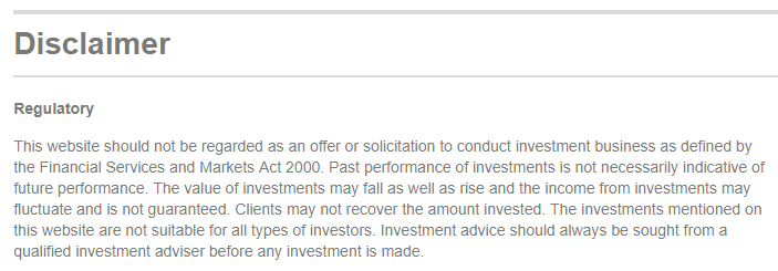 Braveheart Investment Group Regulatory Disclaimer about investments