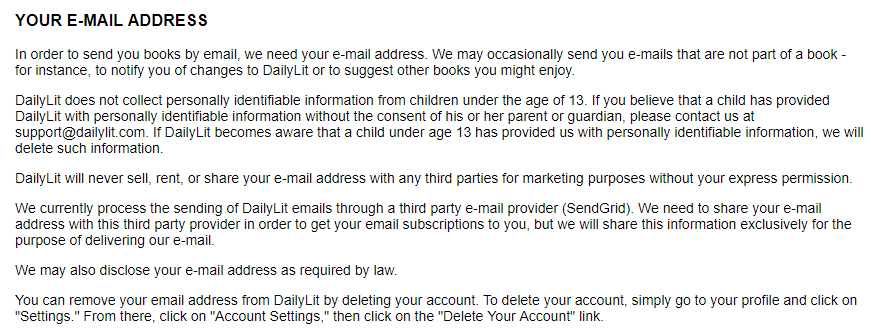 DailyLit Privacy Policy: Your email address clause