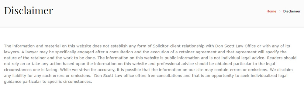 Don Scott McMurray Law Offices Disclaimer