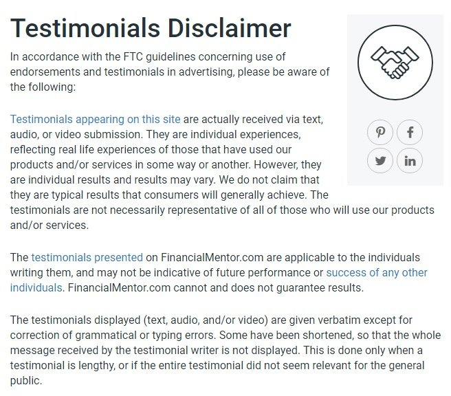Excerpt of Financial Mentor Testimonials Disclaimer