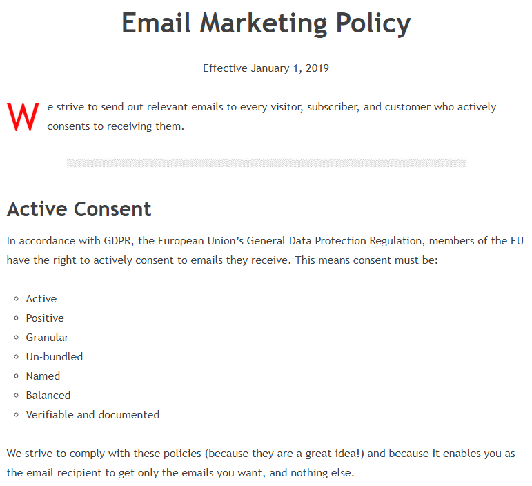 Jeff Sanders Email Marketing Policy: Excerpt of Active Consent section