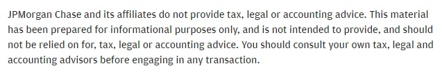 JPMorgan Chase Tax and Legal Advice disclaimer