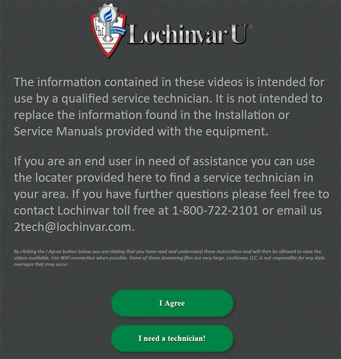 "Lochinvar video disclaimer with ""I Agree"" button"
