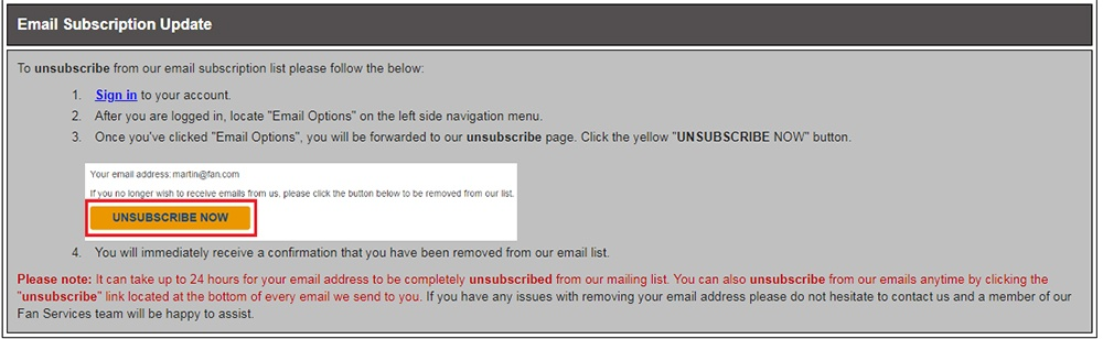 NHL Shop Help Center: Unsubscribe email address instructions section