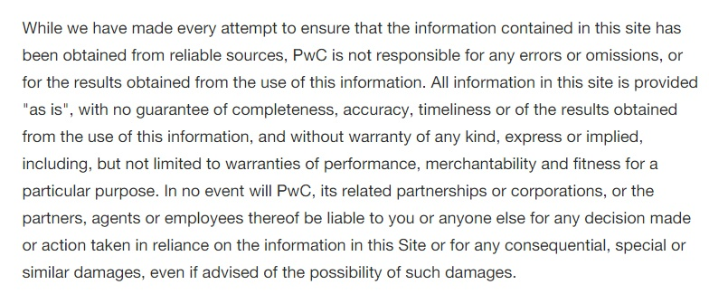 PwC disclaimer: Errors and Omissions section