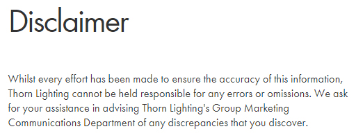 Thorn Lighting Disclaimer: Errors and omissions section
