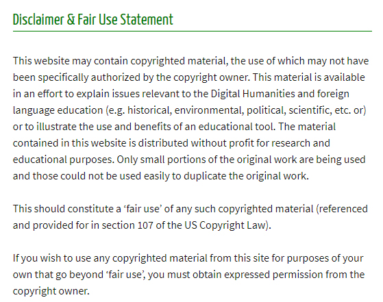 University of Texas Disclaimer and Fair Use Statement