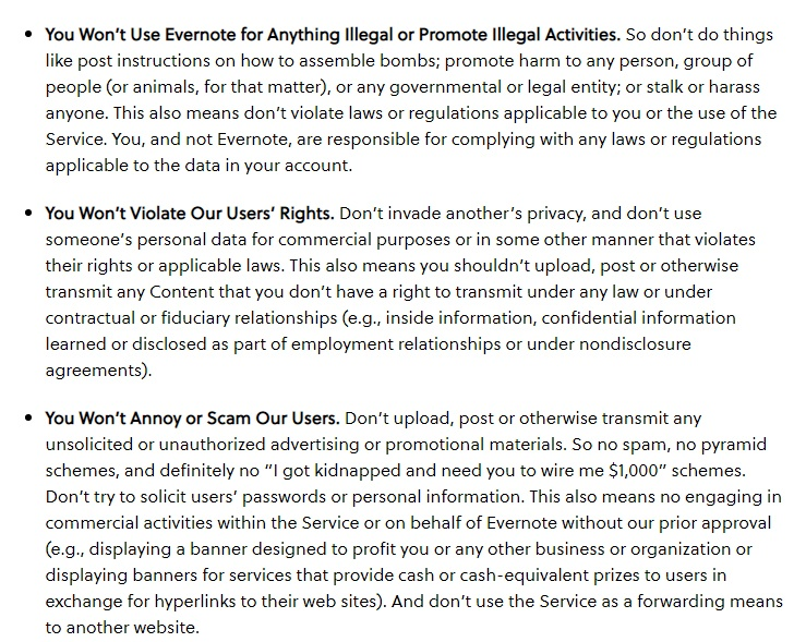 Evernote User Guidelines: Excerpt of prohibited uses clause
