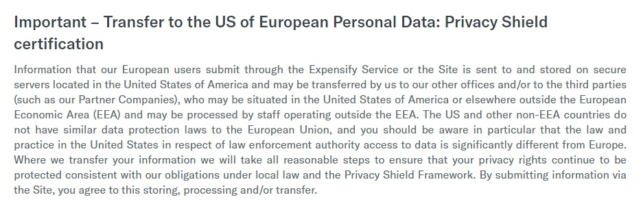 Expensify Privacy Policy: International data transfer and Privacy Shield clause