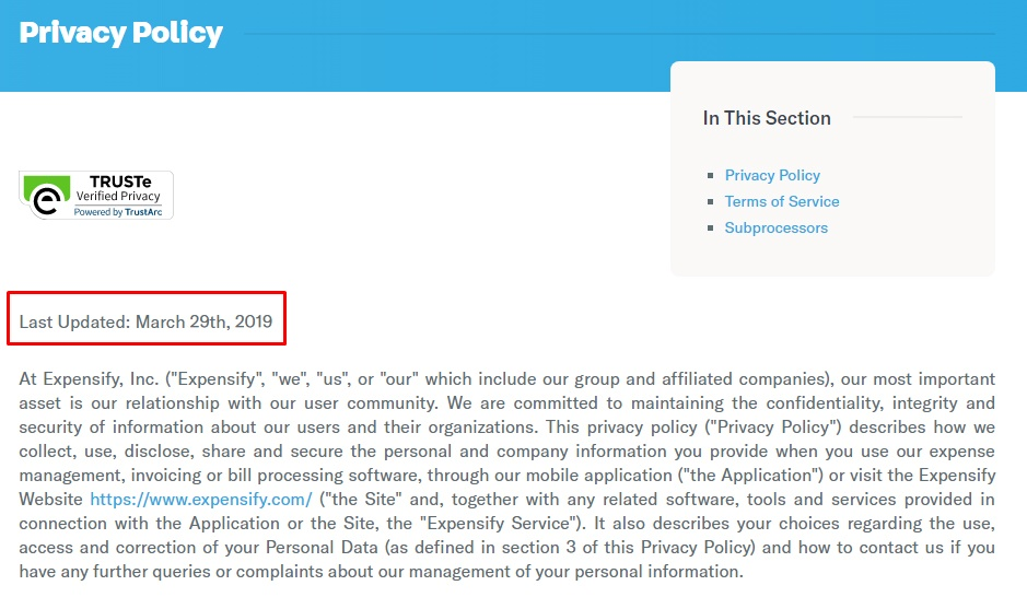Expensify Privacy Policy: Intro and effective date with last update highlighted