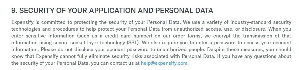 Expensify Privacy Policy: Security clause