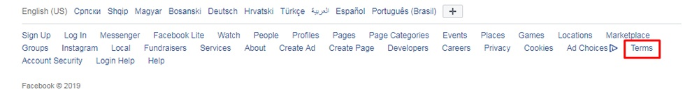 Facebook website footer with Terms highlighted