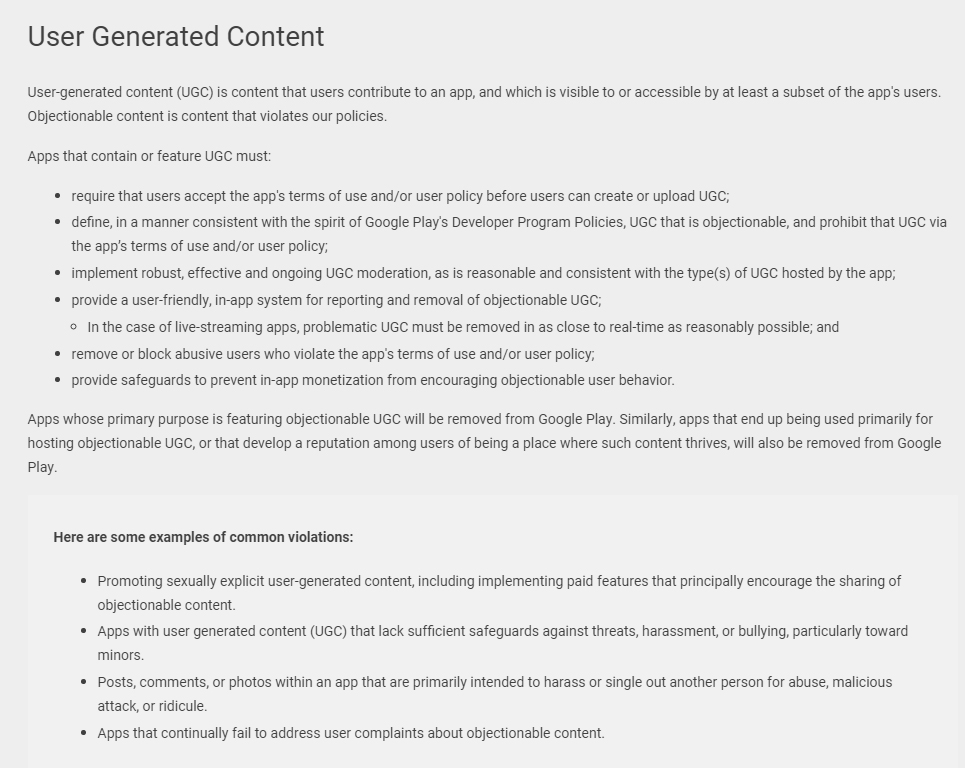 Google Play Policy: User Generated Content clause