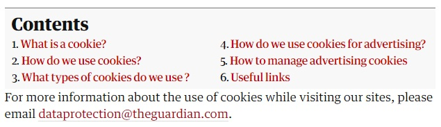 The Guardian Cookie Policy: Contents section