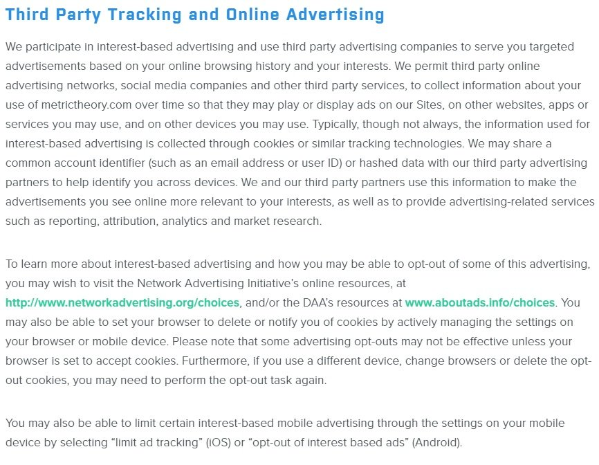 Metric Theory Privacy Policy: Third Party Tracking and Online Advertising clause