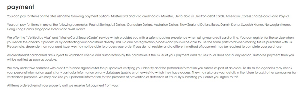 Missguided Terms of Sale: Payment clause