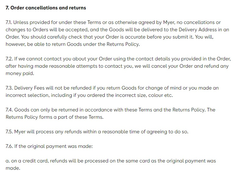 Myer Australia Online Shopping Terms and Conditions: Order cancellations and returns clause excerpt