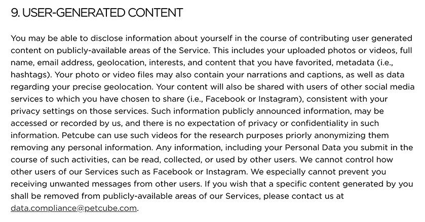 PetCube Privacy Policy: Excerpt of User-Generated Content clause