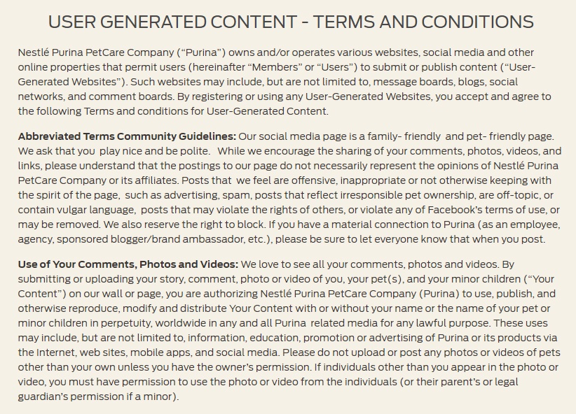 Intro clauses excerpt of Purina User Generated Content Terms and Conditions
