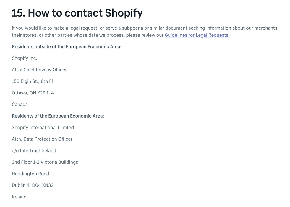 Shopify Privacy Policy: Contact clause