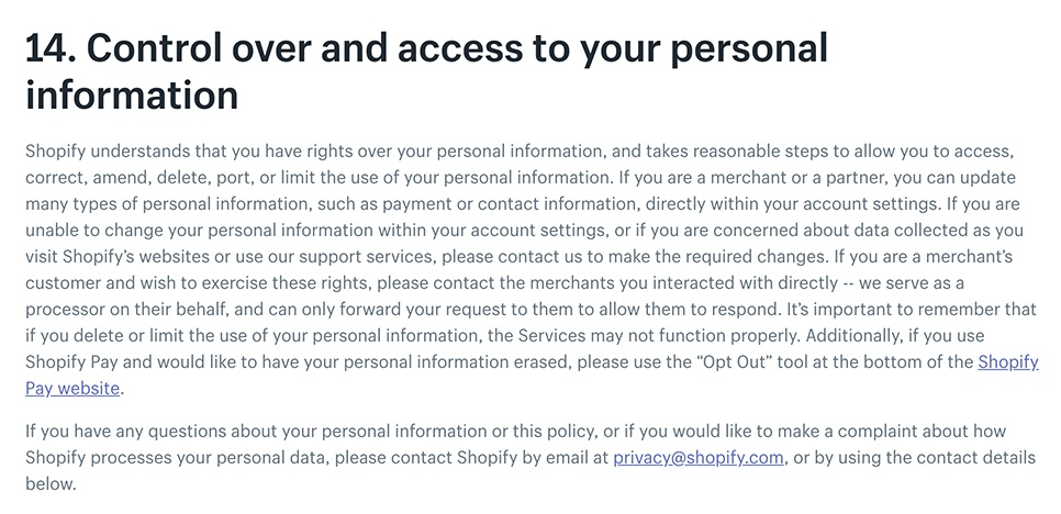 Shopify Privacy Policy: Control over and access to your personal information clause