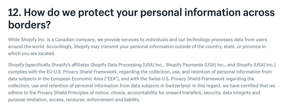 Shopify Privacy Policy: Excerpt of international data transfer clause
