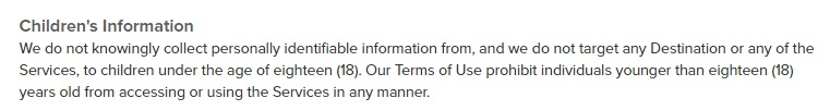 Sincerely Privacy Policy: Children's Information clause