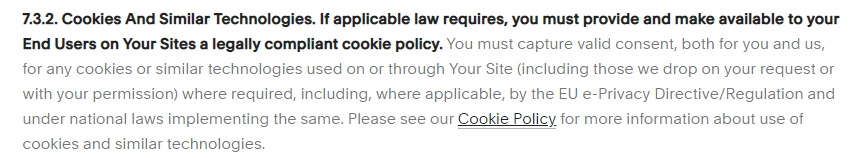 Squarespace Terms of Service: Cookies section