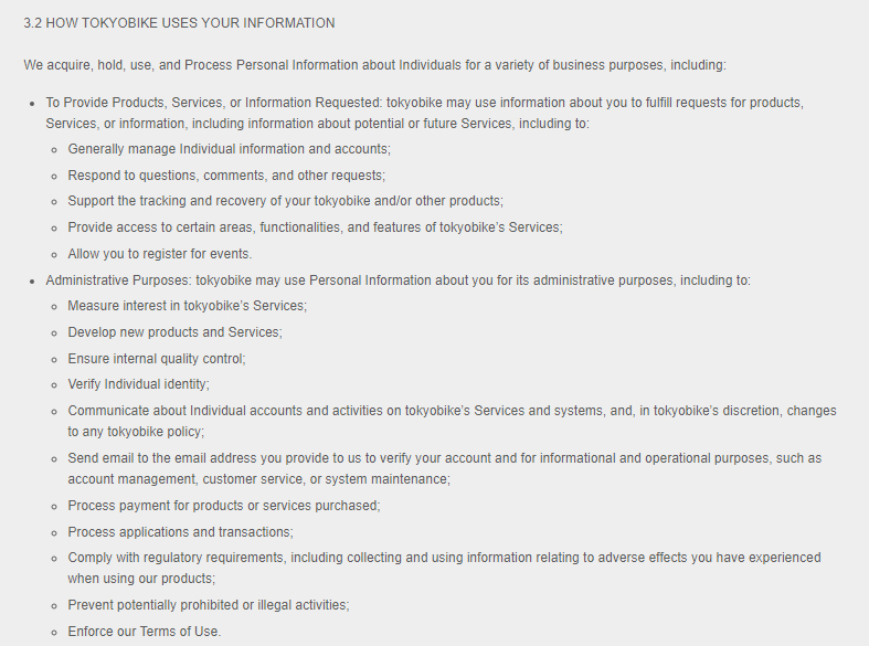 Tokyobike Privacy Policy: How Tokyobike uses your information clause excerpt