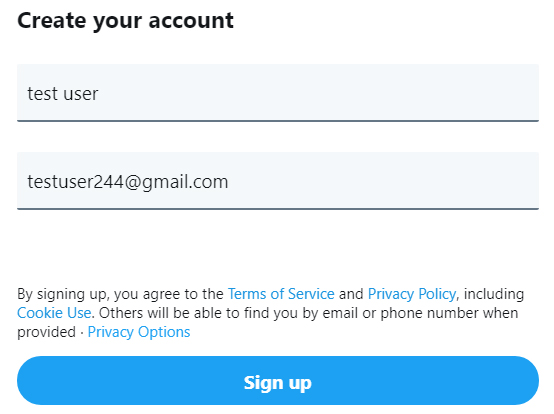 Twitter: Signing up means you agree to Terms of Service and Privacy Policy