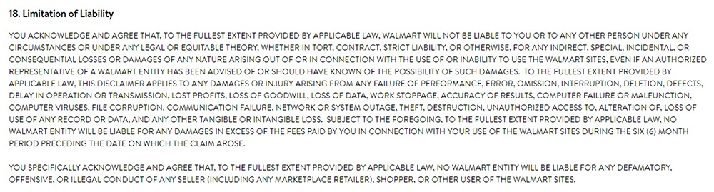 Walmart Terms of Use: Limitation of Liability clause