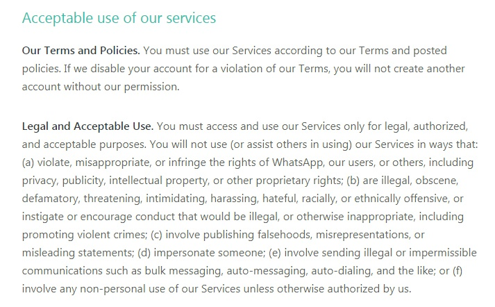 WhatsApp Terms of Service: Legal and Acceptable Use clause excerpt