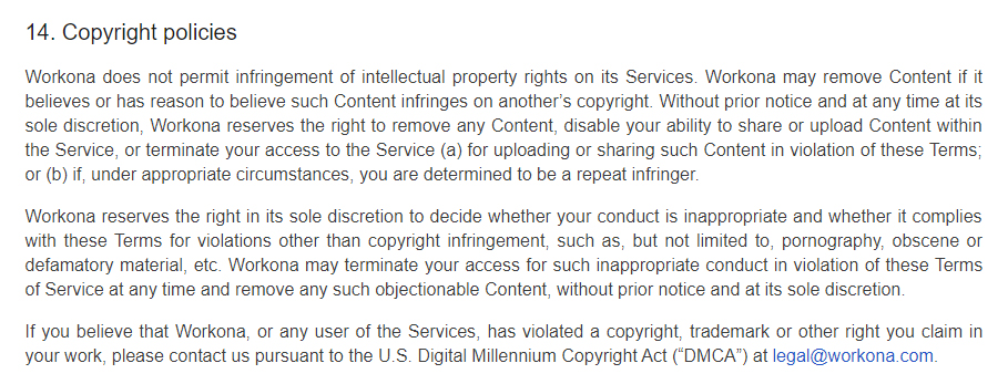 Workona Terms of Service: Copyright policies clause