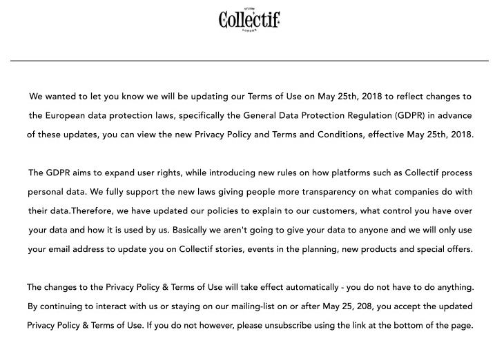 Collectif email notice for updated Privacy Policy and Terms of Use