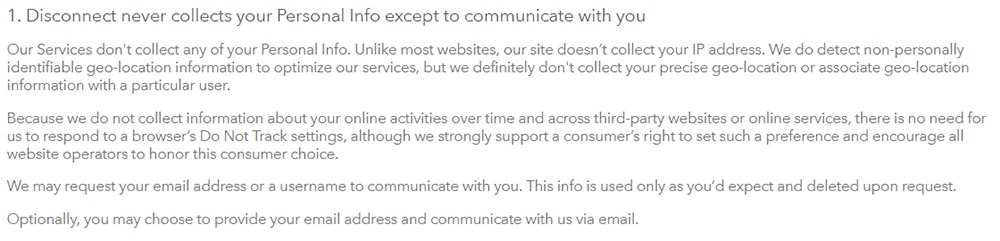 Disconnect Privacy Policy: Disconnect never collects personal info except to communicate with you clause excerpt