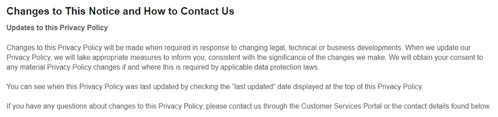 Expedia UK Privacy Policy: Changes to this Notice and How to Contact Us clause