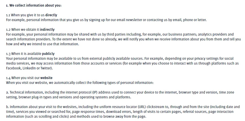 Green Alliance Privacy Policy and Cookies: Excerpt of Information Collected clause