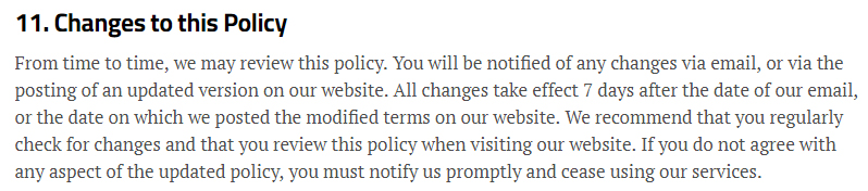 New Scientist Privacy Policy: Changes to this Policy clause