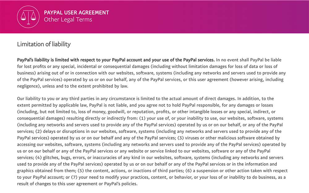 PayPal User Agreement: Limitation of Liability clause