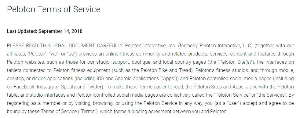 Peloton Terms of Service: Last Updated date and Intro clause