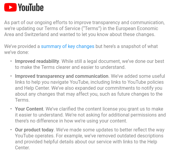 YouTube email notice for updated Terms of Service