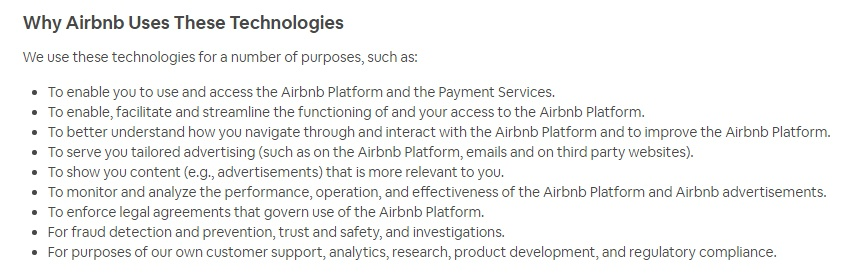Airbnb Cookie Policy: Why Airbnb Uses These Technologies clause