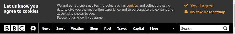 BBC Cookie Consent Notice